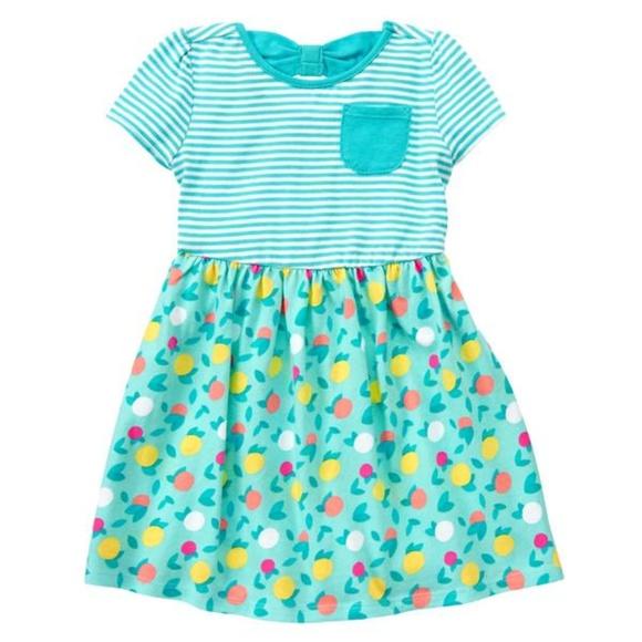 8cb353b32313 Gymboree Dresses | Toddler Girl Teal Stripe Fruit Dress 5t | Poshmark